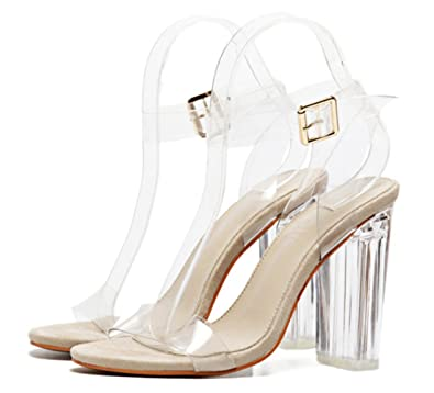 56ef624a47b1f0 YOGLY Femmes Transparent Sandales à Talons Hauts Clear Escarpins Été Sexy  High Heels Élégant Chaussure Club