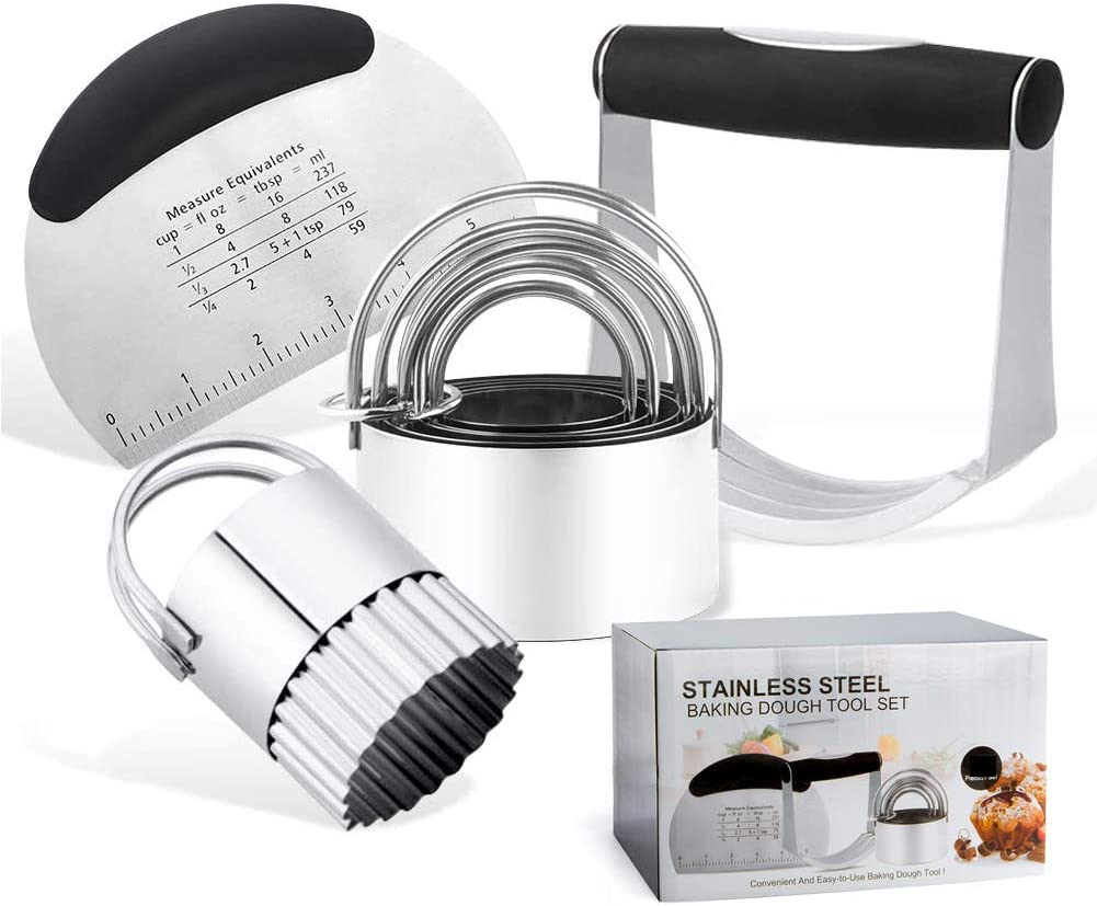 YamaziHD Stainless Steel Pastry Scraper, Dough Blender & Biscuit Cutter Set (8 Pieces/Set), Heavy Duty & Durable with Ergonomic Rubber Grip, Professional Baking Dough Tools, Gift Package
