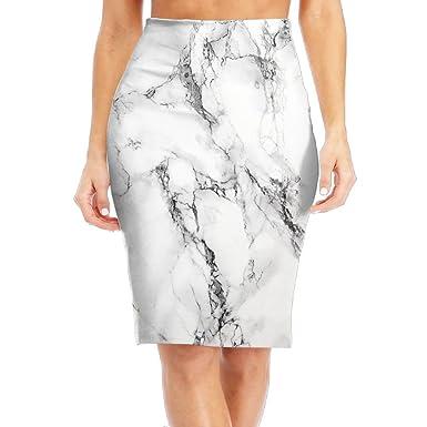 864bb34220c7 White Marble Women's Stretchy Mini Pencil Skirt Knee Basic Bodycon Office  Dress at Amazon Women's Clothing store: