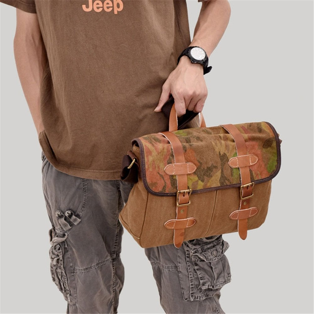 Mens briefcase Canvas Mens Shoulder Bag Retro Leisure Travel Handbag Multifunction Large Capacity Bag Crossbody Bag XFRJYKJ 34x10x25cm Brown