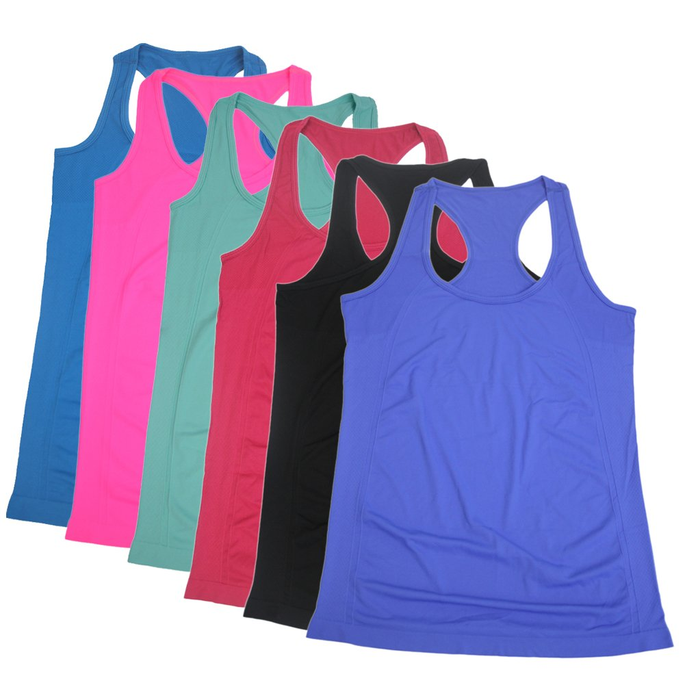Semath Workout Clothes,Breathable Round-Neck Gym Clothes Yoga Clothes for Semath 6 Pack-C,Large