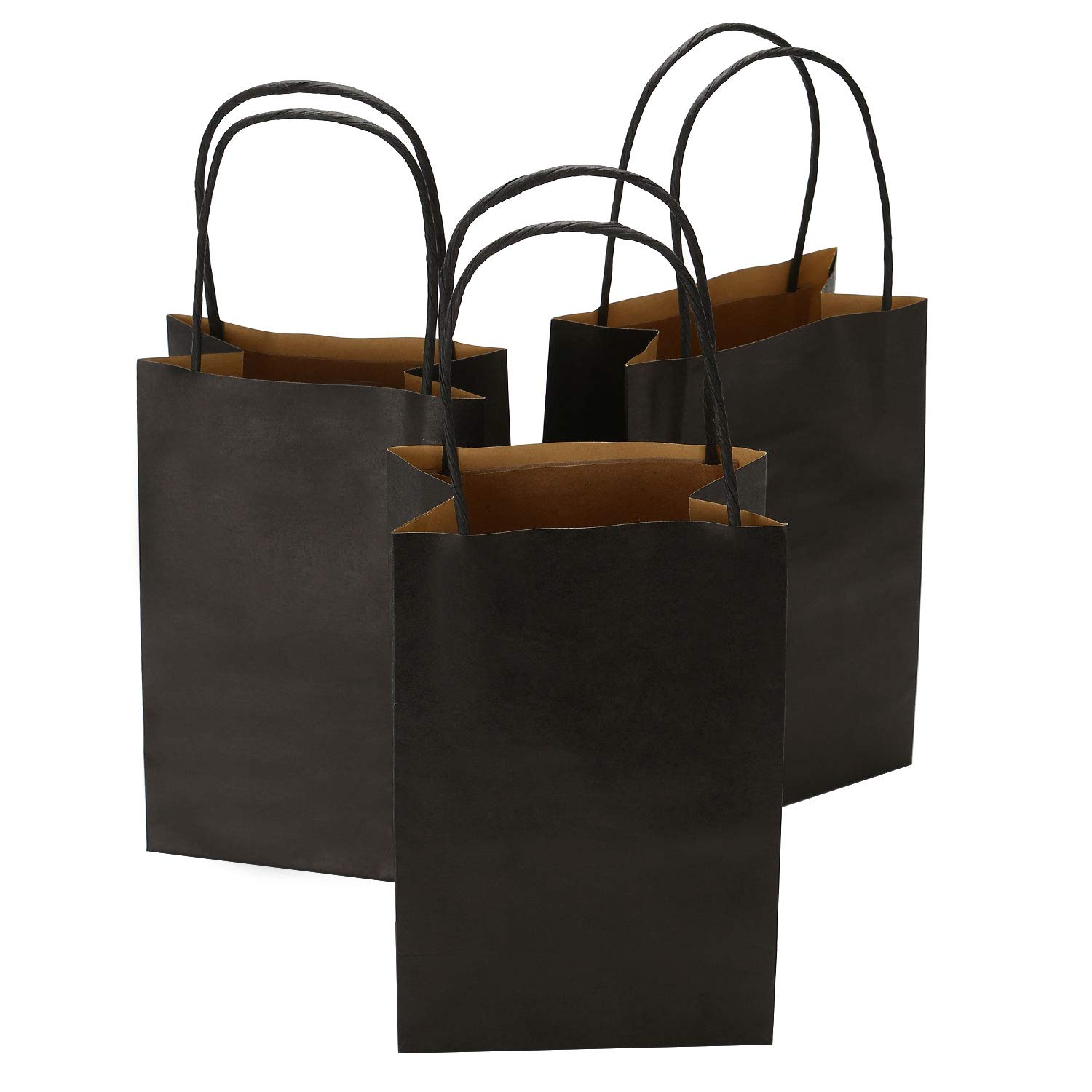 Road 5.25 x 3.25 x 8 Inches 100pcs Black Kraft Paper Bags with Handle, Shopping Bag, Retail bag, Craft Bag, Merchandise Bag, Party Bag by Road