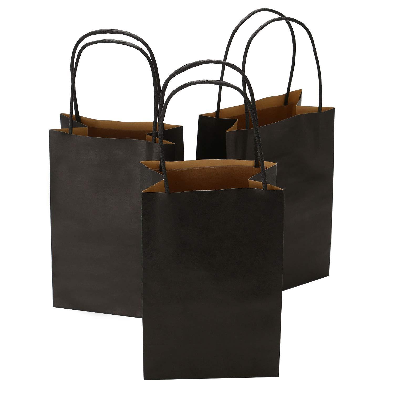 Road 5.25 x 3.25 x 8 Inches 100pcs Black Kraft Paper Bags with Handle, Shopping Bag, Retail bag, Craft Bag, Merchandise Bag, Party Bag