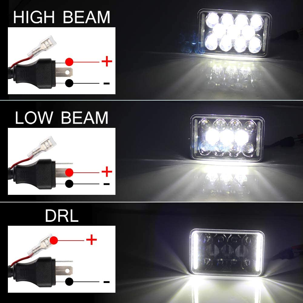 4pcs 4x6 Inch LED Headlights DOT Approved 73W Rectangular Replacement H4651 H4652 H4656 H4666 H6545 Compatible with Peterbilt Kenworth Freightinger Ford Probe Chevrolet Oldsmobile CO LIGHT