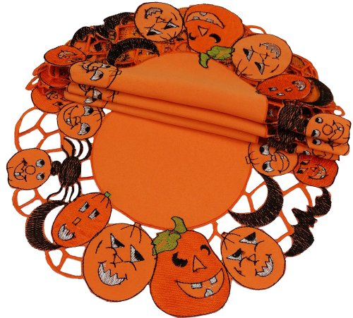 Xia Home Fashions 4-Pack Happy Jack-O-Lanterns Round Halloween Placemats, -