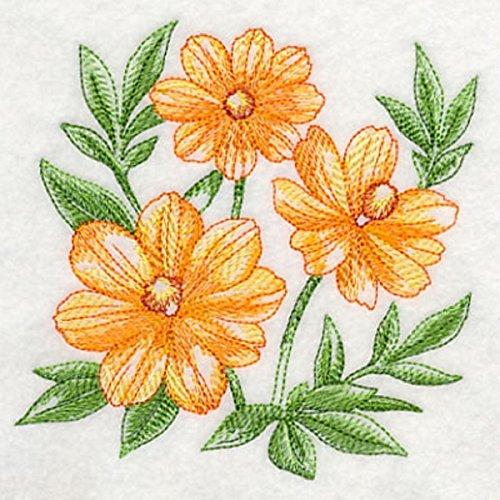 Embroidered Kitchen Towel Orange Cosmos Design