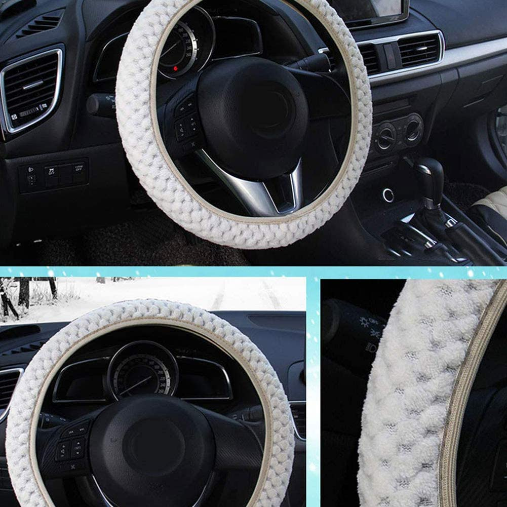 Greyghost Universal Steering Wheel Fluffy Plush Car Steering Wheel Covers Winter Warm Faux Fur Cover Auto Interior