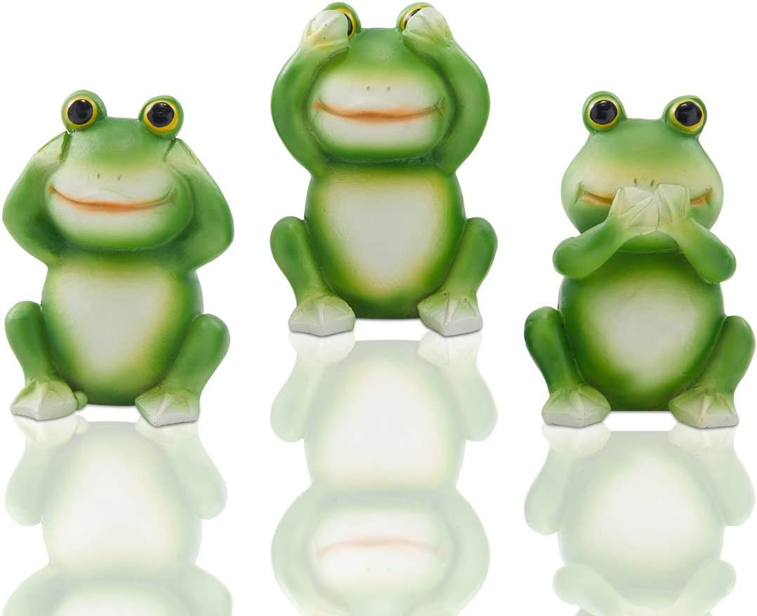 LIMEIDE Garden Frog Statues Miniature Figurine,Whimsical Frogs Fairy Garden Set Outdoor Lawn Statues, for Fairy Gardens or Indoor and Outdoor Garden Decor,2.4 Inch Tall Each,Set of 3