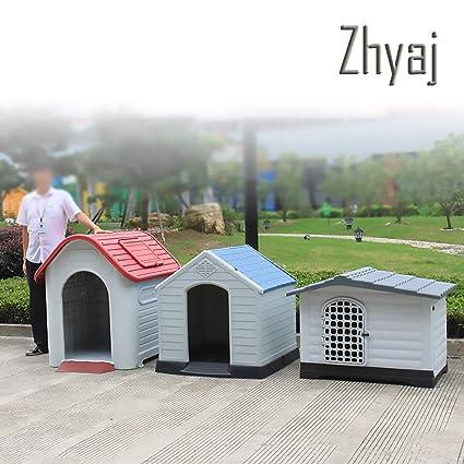 Zhyaj Caseta Perros Exterior, Casa Perro Grande Durable Estable Impermeable Desmontable Cama para Mascotas Ventilación