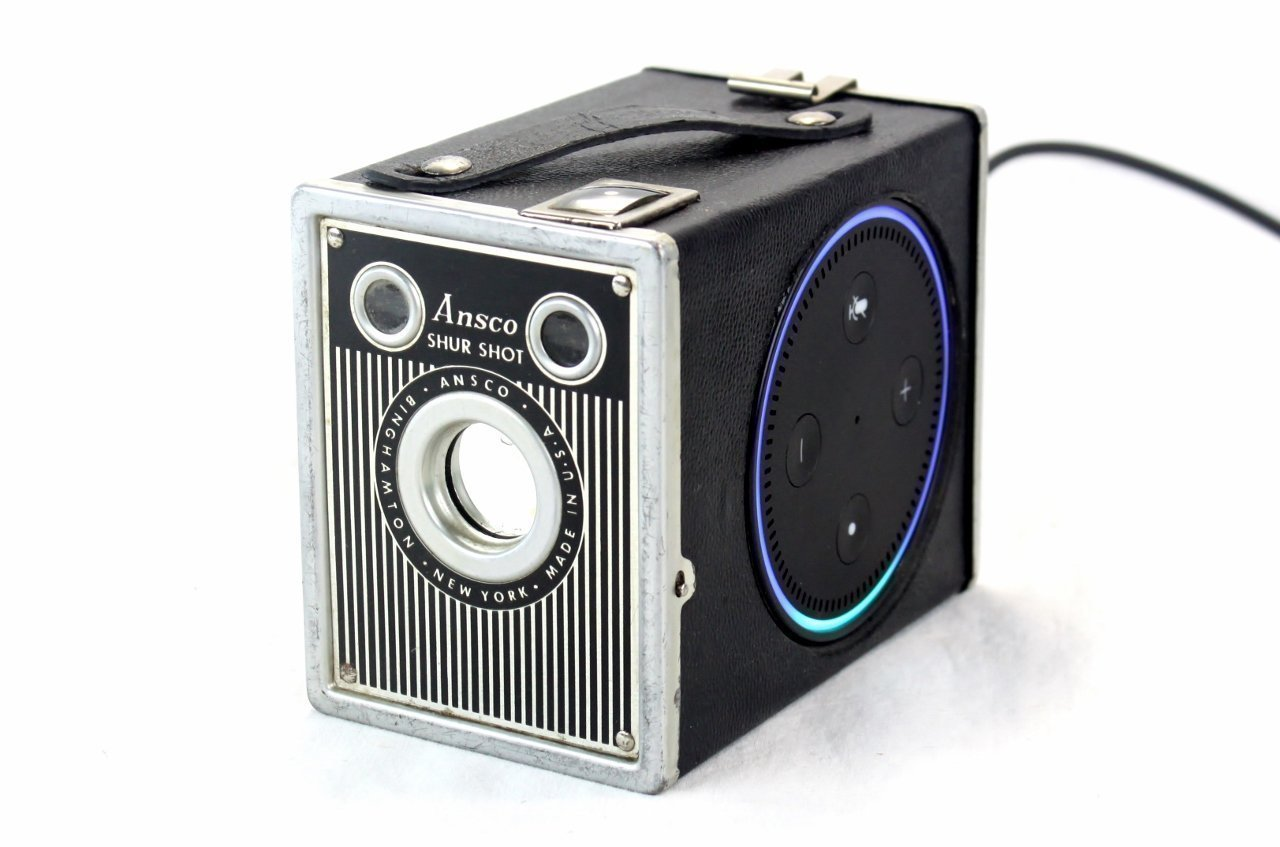 Steampunk Holder Stand For Amazon Echo Dot 2nd Generation Speaker- ANSCO Shur Shot Special Camera