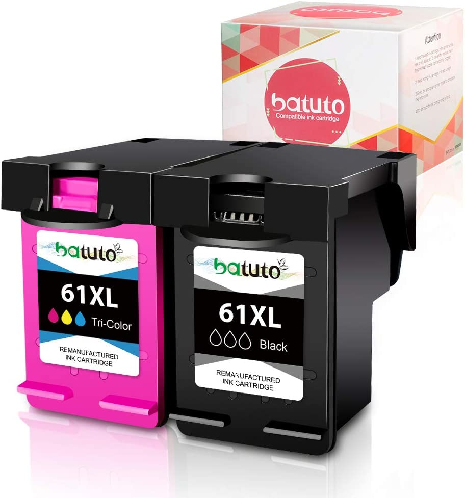 batuto Remanufactured Ink Cartridges for HP 61 XL 61XL (Black & Tri-Clour, 2Pack ) Replacement for Deskjet 1000 1010 1050 1510 2050 2050A 2510 2540 2541 3000 3050 3510 Envy 4500 5530 OfficeJet 4630