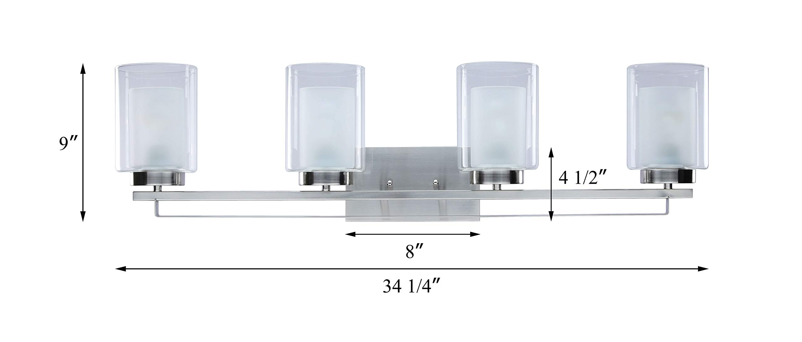 Wall Light 4 Light Bathroom Vanity Lighting with Dual Glass Shade in Brushed Nickel Indoor Modern Wall Mount Light for Bathroom & Kitchen XiNBEi-Lighting XB-W1195-4-BN by XiNBEi Lighting (Image #6)