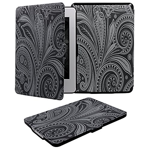 Case for Amazon Kindle Paperwhite, Adela New Fashionable Beautiful Paisley Flower Painting Ultra Slim PU Cover Case For All 2012 2012,2013,2014,2015 Versions Kindle Paperwhite-Black (New Black Paisley)