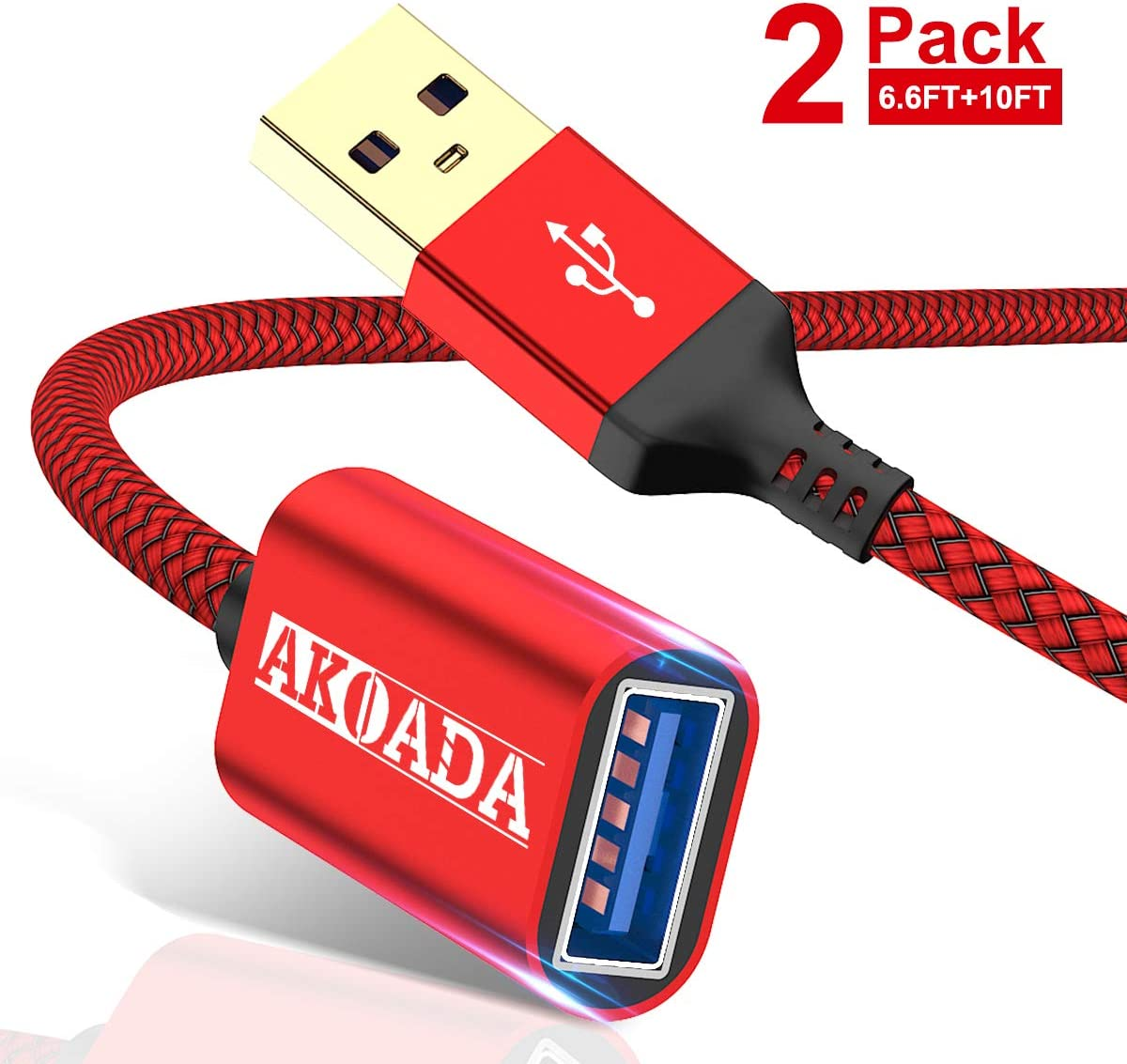 AkoaDa USB Extension Cable 3.0,Type A Male to USB A Female Extender Cord [2pack 6.6ft+10ft] 5Gbps Data Transfer Compatible with Keyboard,USB Flash Drive,Playstation,Mouse,Hard Drive and More(Grey): Computers & Accessories