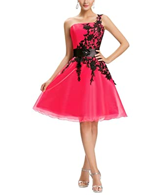 09dc9020dd1a Women's One Shoulder Organza Homecoming Dresses 2018 Short Prom Gowns Size  2 Red