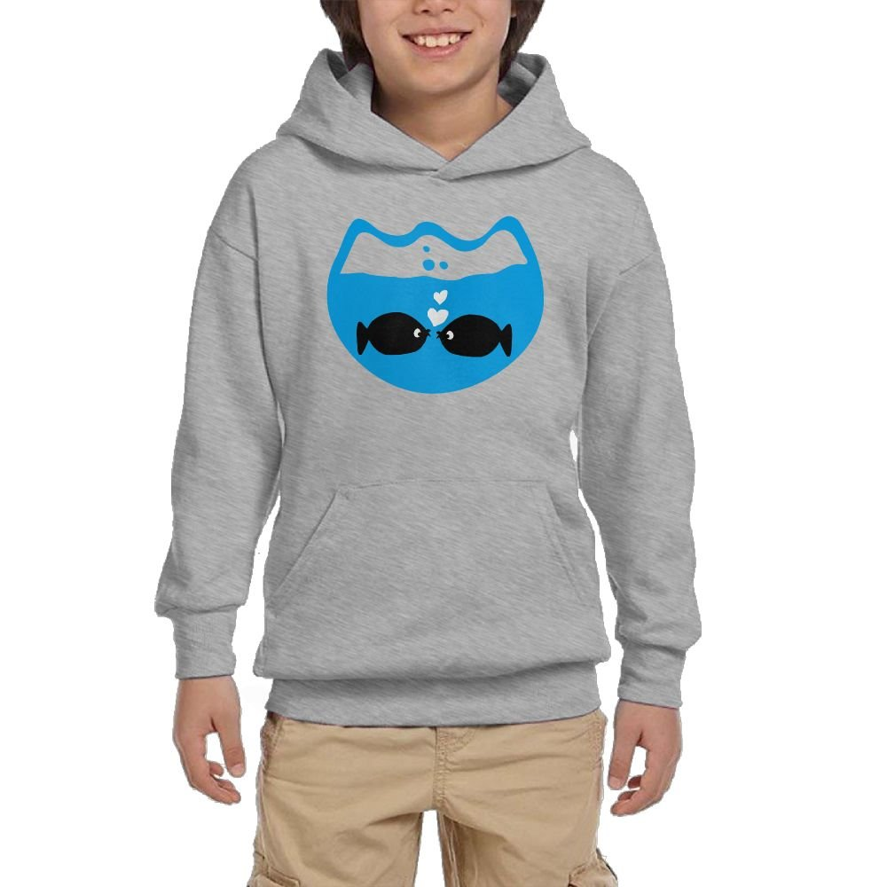 Artphoto Youth's Designer Fishes in Love & Fishbowl Vector Art Hoodies Sweatshirt Suitable for 10 to 15 Years Old  L Ash by Artphoto