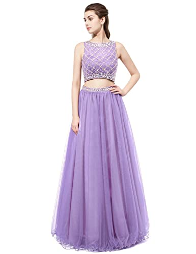 DRESSTELLS Long Prom Dress 2016 Two Pieces Tulle Evening Gowns with Beads