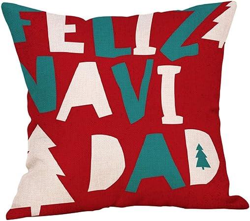 lonupazz Merry Christmas algodón Lino Funda de cojín Decoration Cojines sofá, Mesa Decorativo Funda de Almohada 45 x 45 cm Navidad, Mezcla de algodón, c, 45_x_45_cm: Amazon.es: Hogar
