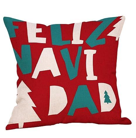 lonupazz Merry Christmas algodón Lino Funda de cojín ...