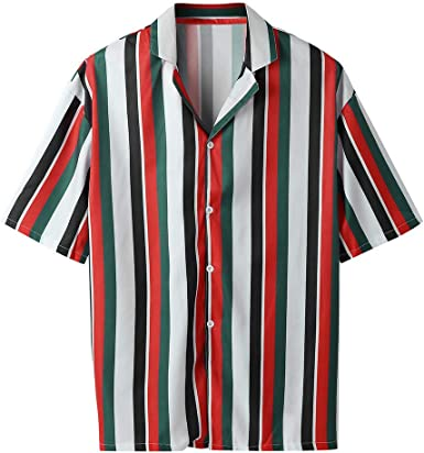 SportsX Mens Regular Fit Summer Cotton Short-Sleeve Stripes Shirt Tops