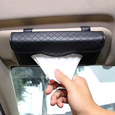 Cartisen Car Tissue Holder, Sun Visor Tissue Holder, Car Visor Napkin Holder, PU Leather Backseat Tissue Case for Car/Truck (Black): Automotive [5Bkhe1006009]