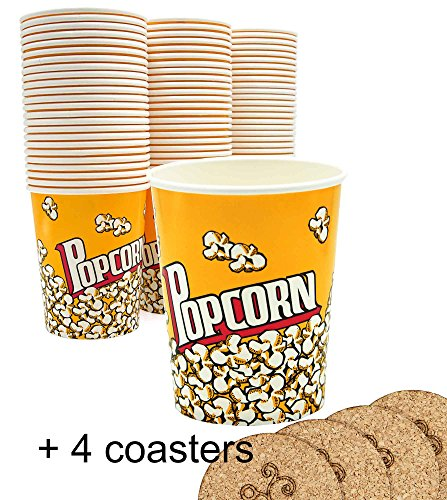 Yellow Red Popcorn Snack Bucket Cups Yellow Red 32 oz. - Pack of 74 cups