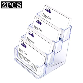 Hipiwe 2 packs 4 tier acrylic business card holder stand clear hipiwe 2 packs 4 tier acrylic business card holder stand clear desktop index card filing card holder diaplay reheart Gallery
