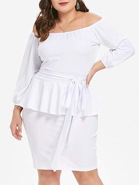 Amazon.com: EbuyChX Plus Size Off The Shoulder Peplum Dress White 1X ...