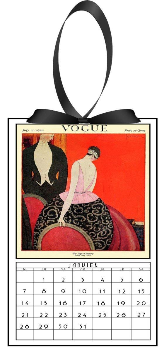 2018 vintage Vogue calendar with silk ribbons