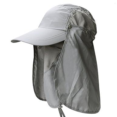 Lovinda Sombrero de Pesca Hombre Visor Gorra Redonda de Moda Gorra de Senderismo  Pescador Sombrero Actividades al Aire Libre Protege la Cabeza y el Cuello   ... 2bb96677549