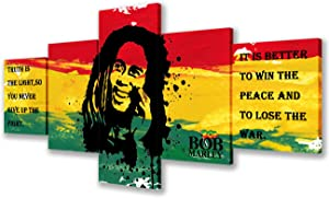 Bob Marley Beautiful Room Dorm Decor Hippie Poster Reggae Wall Art Hanging Posters 5 Panel Canvas Wall Art Home Decor for Living Room Giclee Wooden Framed Gallery-wrapped Ready to Hang(50''Wx24''H)