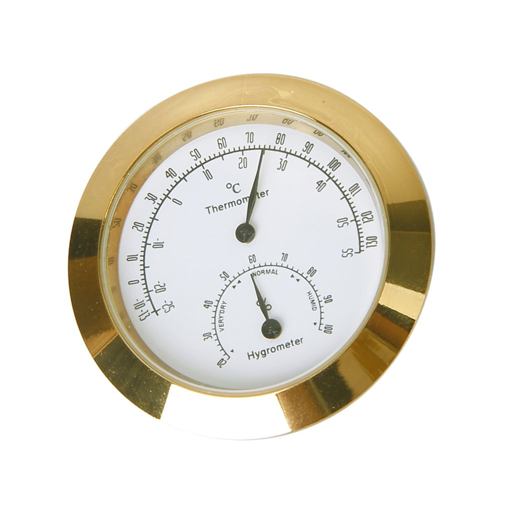 Golden Round Thermometer and Hygrometer for Guitar Violin Case Generic