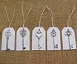 SL crafts Mixed 100pcs Antique Silver Skeleton Keys & 100 pcs White Tags Key Charms Pendants Wedding favor 53mm-68mm