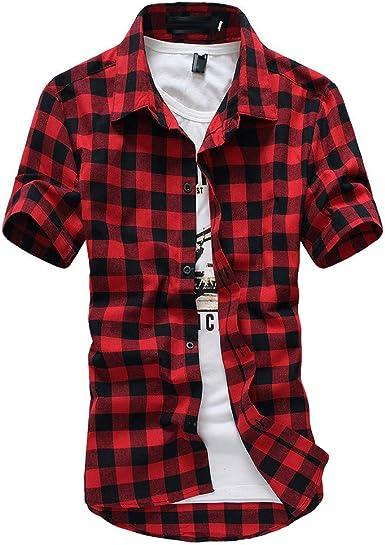 MEIbax Camisetas para Hombre de Manga Corta a Cuadros de celosía Blusa de Solapa de Gran tamaño Camisa Blusa Blusa Top Deportiva T-Shirt