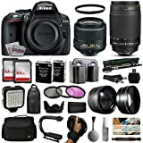 Nikon D5300 DSLR Digital Camera with 18-55mm VR II + 70-300mm Lens + 128GB Memory + 2 Batteries + Charger + LED Video Light + Backpack + Case + Filters + Auxiliary Lenses + $50 Gift Card + More!