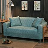 Stretch sofa covers throw,Sofa slipcovers,Knitted polyester non-Slip furniture protector sofa sets -cyan-blue 4 seaters