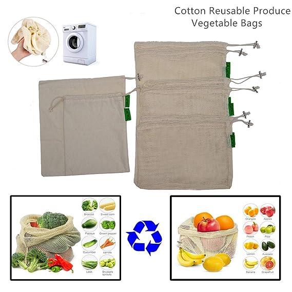 bolsas de malla reutilizables, 10 piezas lavable bolsa de algodón ...