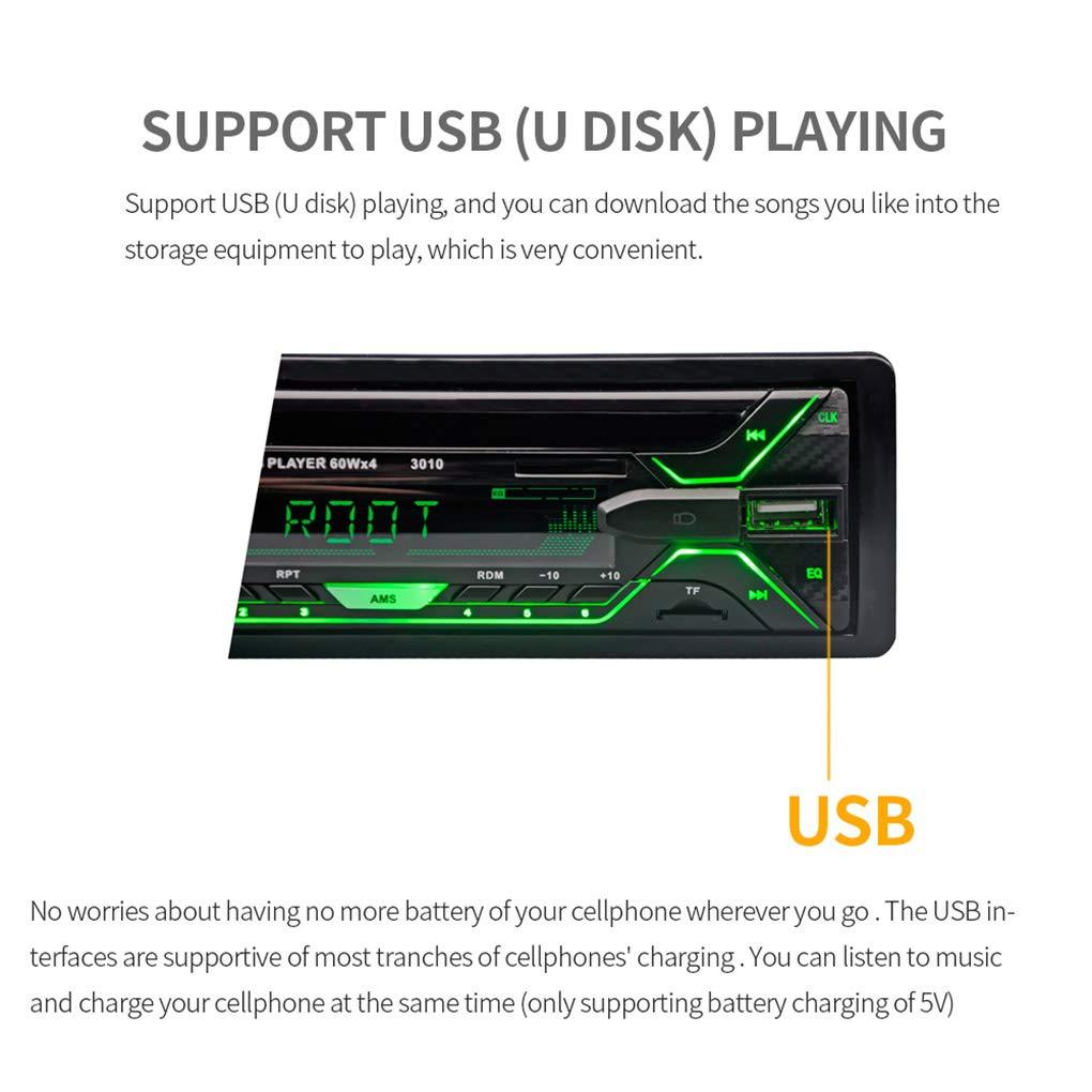 Radio autoradio Lettore Bluetooth AUX-in MP3 FM//USB 1 DIN//Remote Hands-Free di Controllo delle chiamate Auto MP3 Player Audio