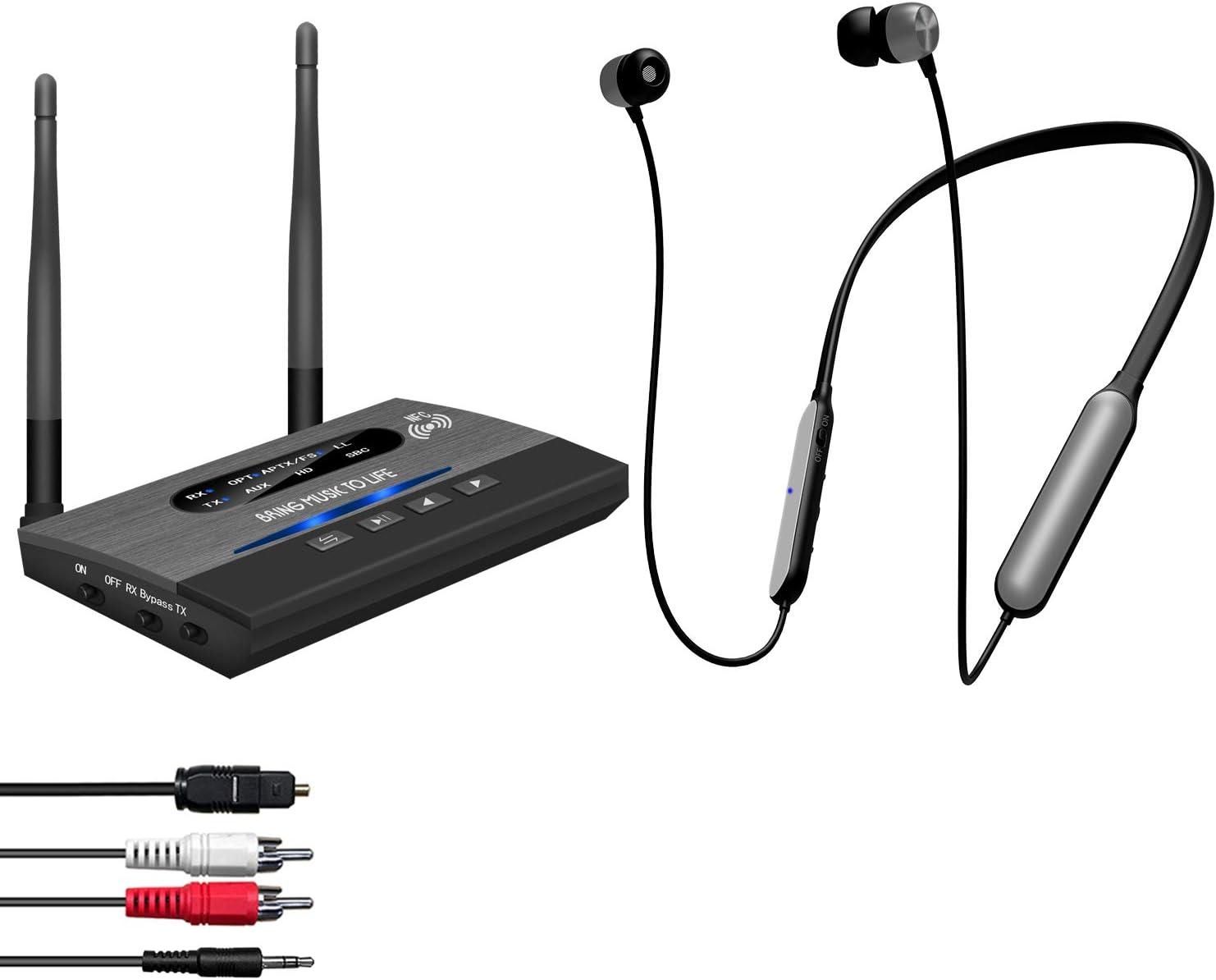 Auriculares inalámbricos Auriculares para ver televisión, juego de audífonos Bluetooth con banda para el cuello Friencity con transmisor de rango de 246 pies para digital óptico,RCA auxiliar de 3.5 mm