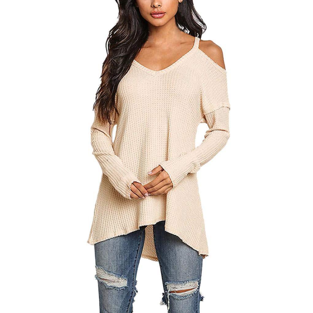 Longra Damen Pullover Winter Herbst Sweater V-Ausschnitt Pullover Langarm Schulterfreie Oberteile Elegante Bluse Shirt Pullis Damen Strickpullover Longpullover Strickpulli Sweatshirt