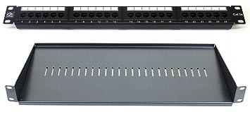 "Cat5E 19/"" 16 Port Patch Panel 4 Way Power Unit Comms Rack Data Network Cabinet"