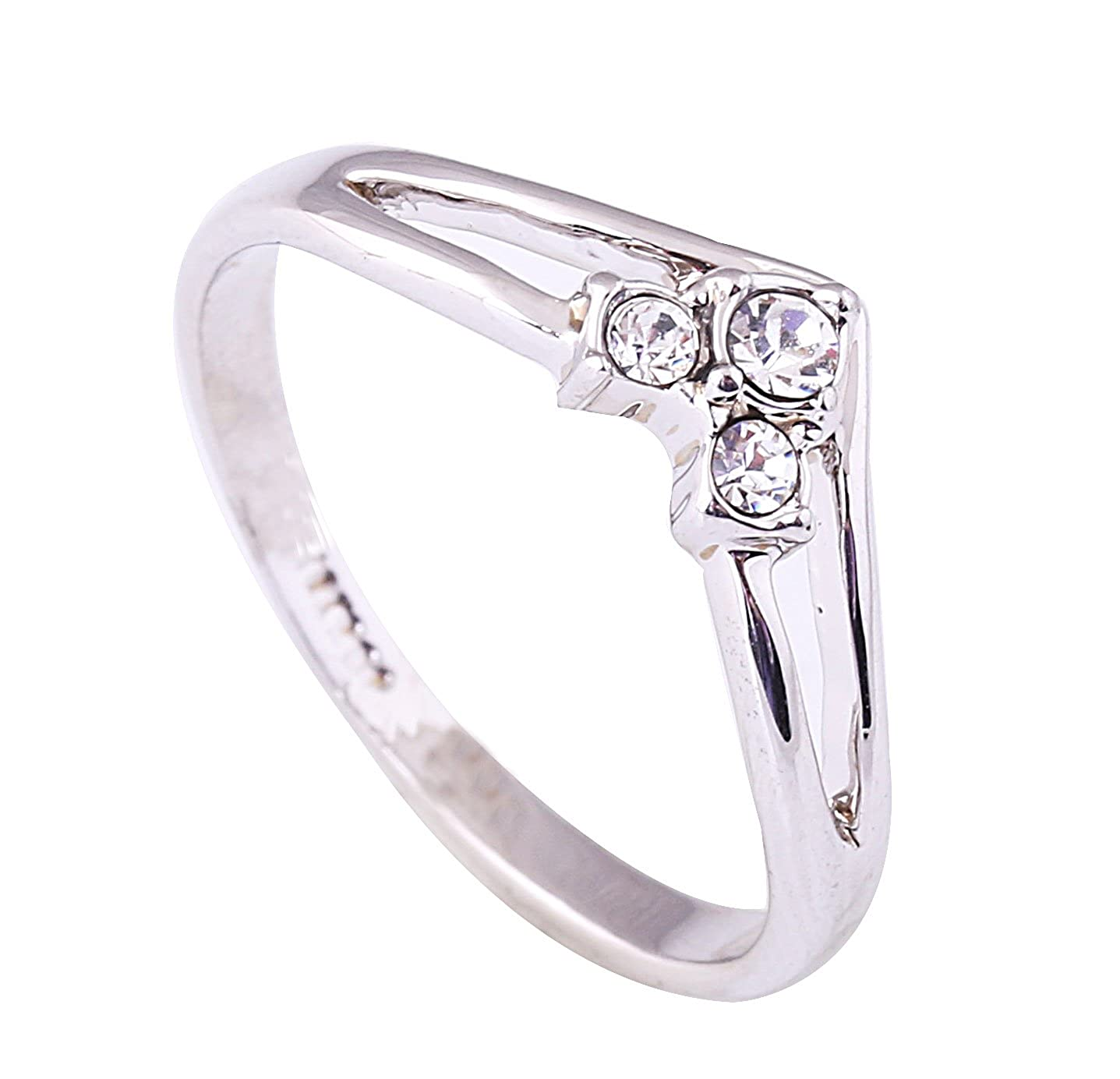 Acefeel 18K White Gold Plated Inlaid Austrian Drilling V Shape Promise Engagement Wedding Ring R036