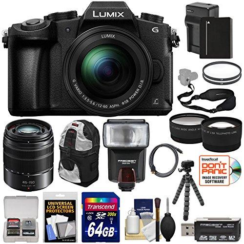 Panasonic Lumix DMC-G85 4K Wi-Fi Digital Camera & 12-60mm Lens + 45-150mm Lens + 64GB Card + Battery + Backpack + Tripod + Flash + Tele/Wide Lens Kit by Panasonic