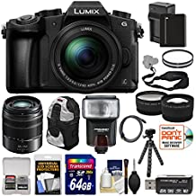 Panasonic Lumix DMC-G85 4K Wi-Fi Digital Camera & 12-60mm Lens + 45-150mm Lens + 64GB Card + Battery + Backpack + Tripod + Flash + Tele/Wide Lens Kit