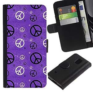 KLONGSHOP / Tirón de la caja Cartera de cuero con ranuras para tarjetas - Hippie Sign Symbol Peace Wallpaper Art - Samsung Galaxy S5 V SM-G900