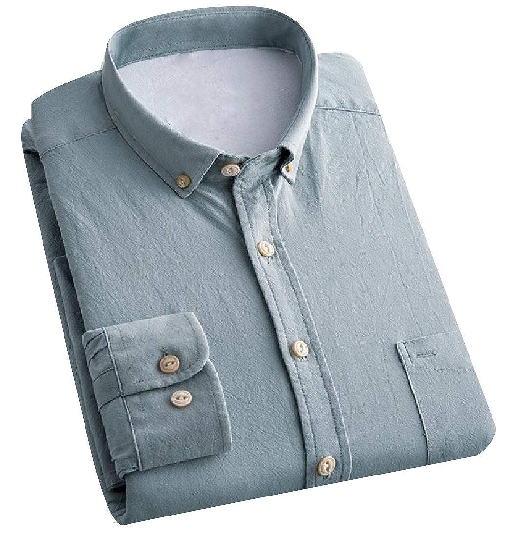 Abetteric Mens Stretch Classic Fit Corduroy Button-Collar Dress Shirt