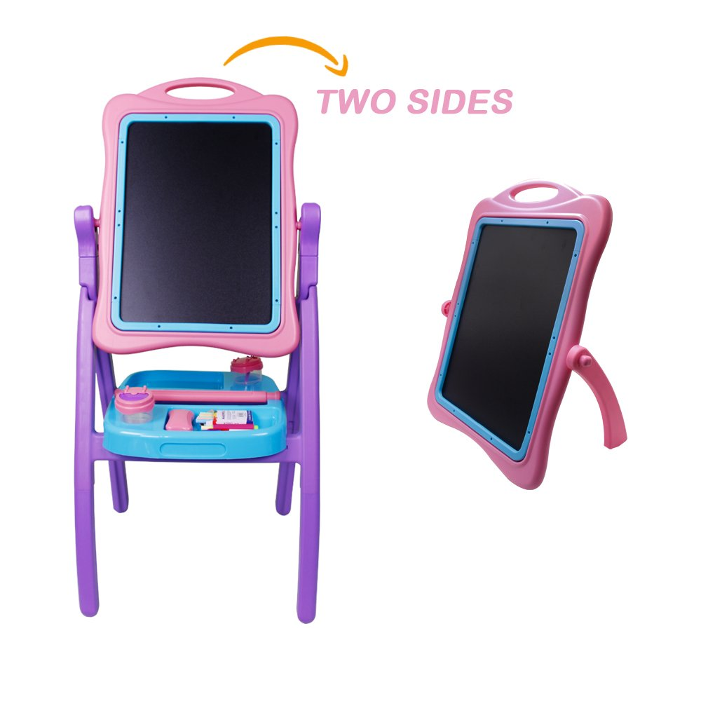 Kids Drawing Board Children Easel Double Sided Adjustable, Chalk Blackboard & White Dry Erase Surface, Disassembled, Suitable for Standing or Sitting Painting, Gift Painting Tools (Pink)