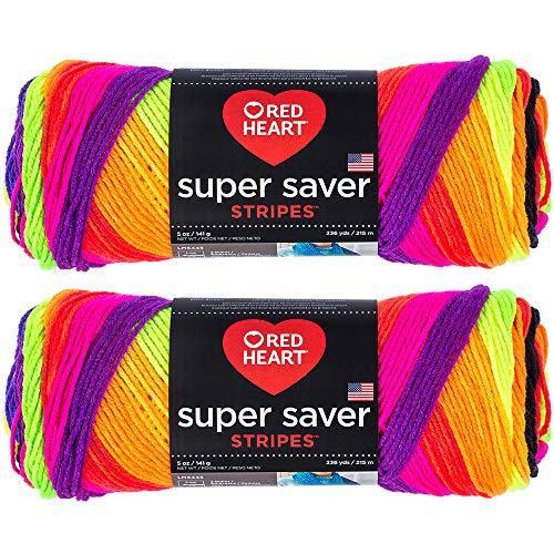 (Bulk Buy: Red Heart Super Saver (2-Pack) (Bright Stripe, 5 oz Each Skein))