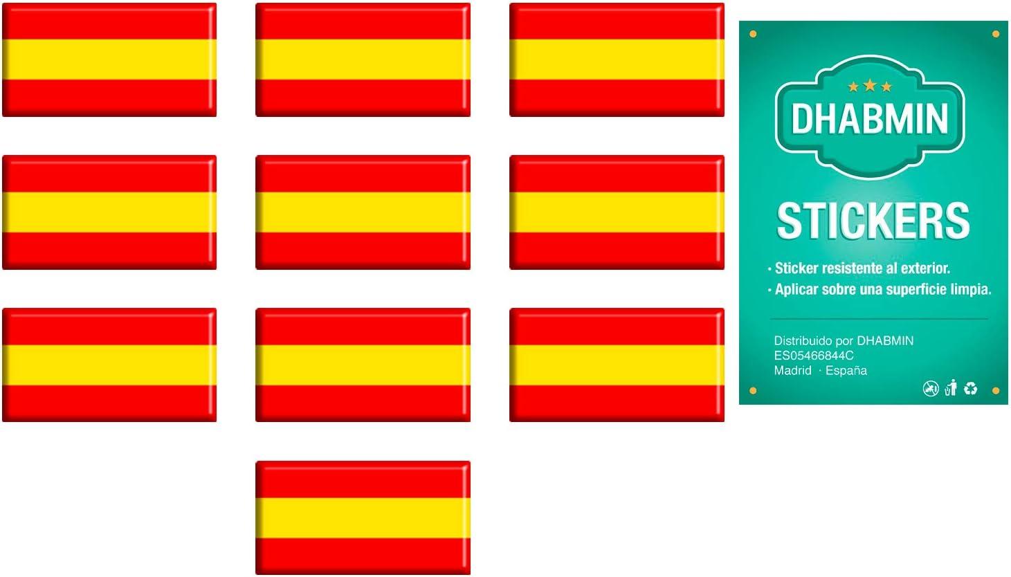 Dhabmin Pegatinas Bandera de España Adhesivos Bandera de España de Resina Pack 10 uds: Amazon.es: Coche y moto