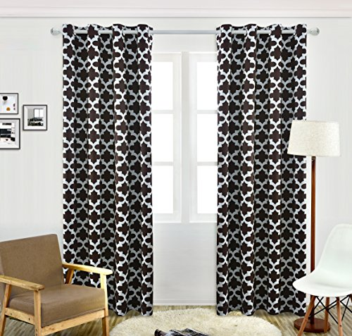 """Blackout Room Darkening FLAME RETARDANT 250GSM Thermal Insulated Blackout Grommet Double-sided printing curtains for Bedroom Living Room coffee 52""""x63″ 1 panel By Suocai ( 52""""x63"""", coffee)"""